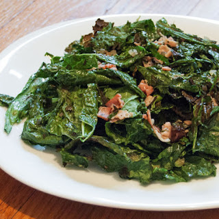 Grilled Kale Salad With Warm Bacon Vinaigrette.