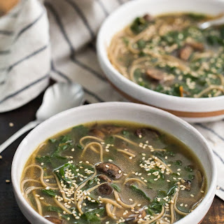 Soba Noodle Soup with Mushrooms & Chard.