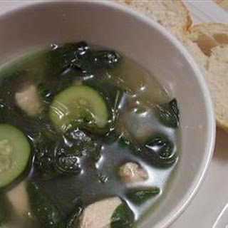 Chicken Spinach and Noodle Soup.