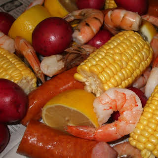 Shrimp Boil for One, with Homemade Cocktail Sauce.