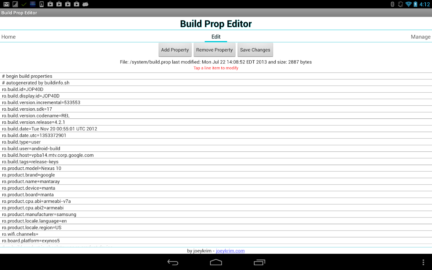 Build Prop Editor - screenshot