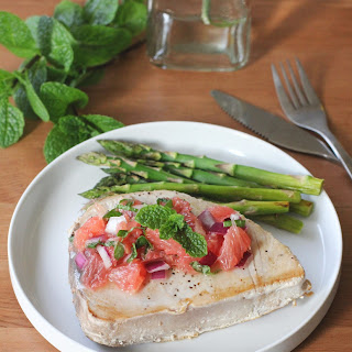 Tuna Steaks with Red Grapefruit and Mint Relish