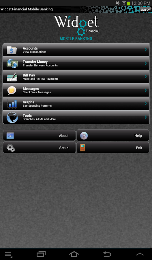 Widget Financial Mobile - screenshot