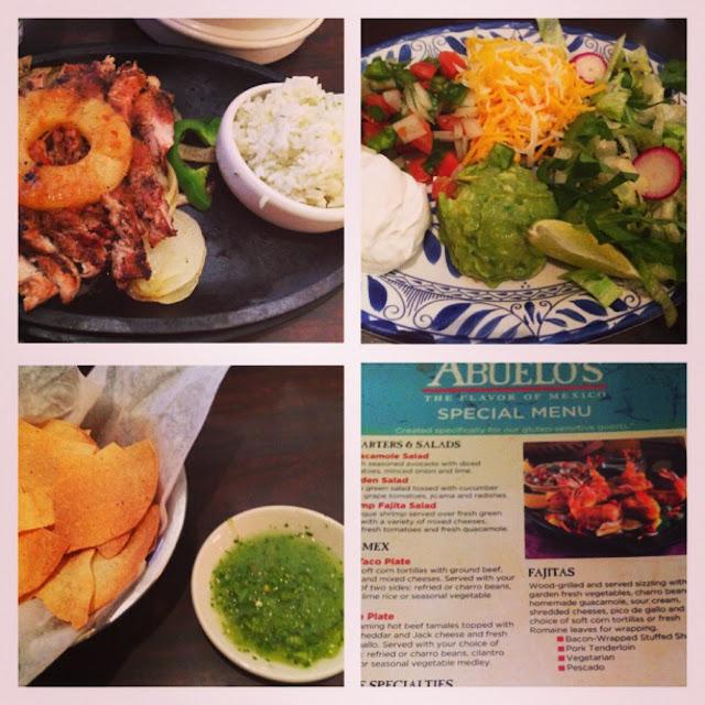 Gluten-Free pork fajitas with corn tortillas. | Gluten free corn chips with green salsa.