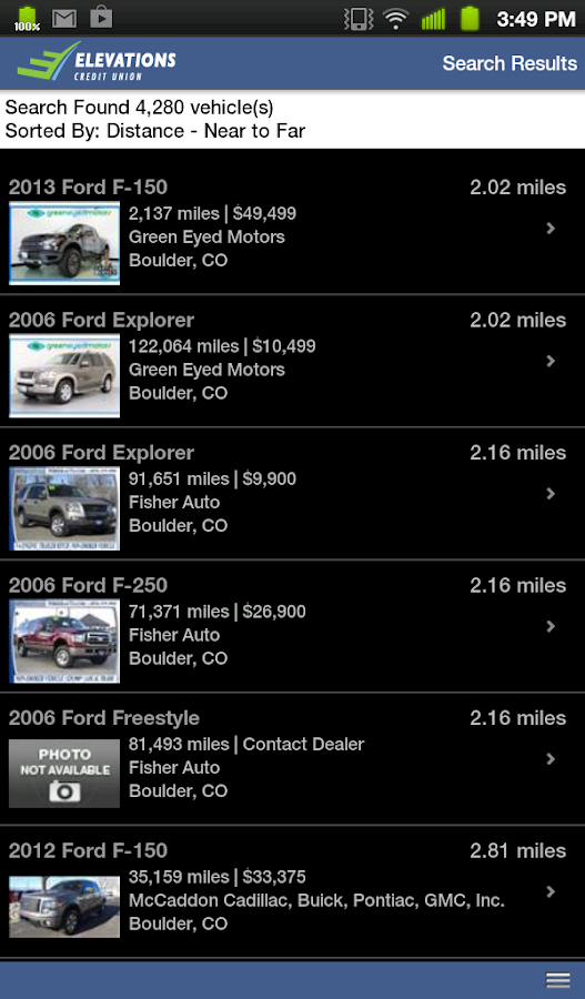 Elevations Credit Union Auto - screenshot