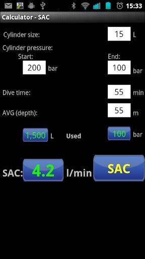 Scuba calculator - SAC Pro
