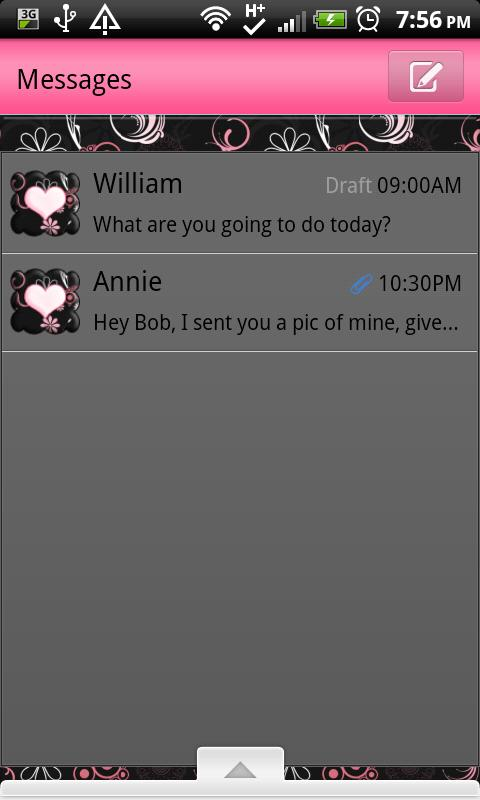 GO SMS THEME/GirlyPinkBlack - screenshot
