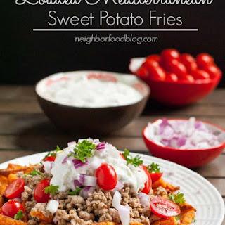 Loaded Mediterranean Sweet Potato Fries with Tzaziki Sauce