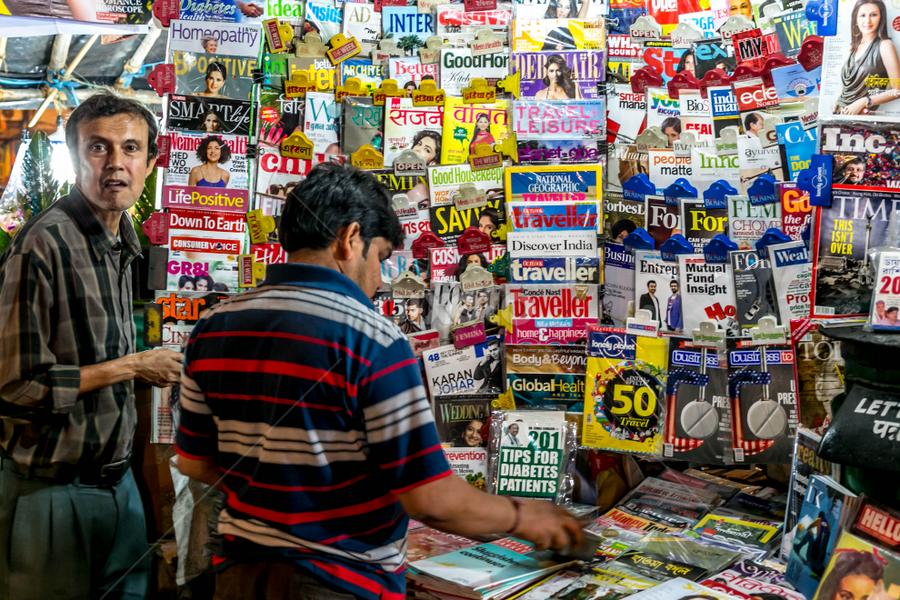 Magazine Stalls by Joydeep Bhattacharya - City,  Street & Park  Markets & Shops ( lake market, west bengal, calcutta, night photography, kolkata, magazine stall,  )