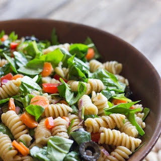 Chopped Spinach and Pasta Salad With Balsamic Vinaigrette.