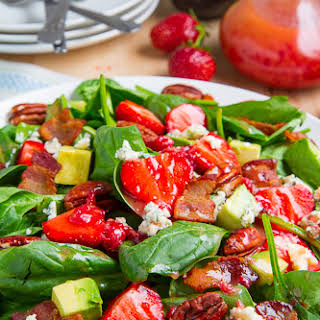 Strawberry and Avocado Spinach Salad in Raspberry Balsamic Vinaigrette.