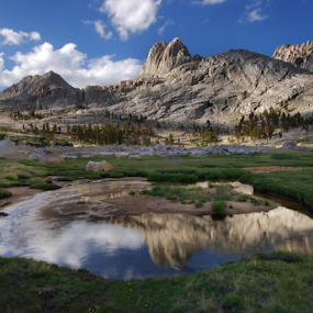 Reflections in the Miter Basin by Cliff LaPlant - Landscapes Mountains & Hills ( sierralara; sierra; sierras; sierra nevada; range of light; california; nikon; photography; hiking; outdoors; backpacking; camping; climbing; beauty; mountain; mountains; discover; discovery; scenery; john muir; ansel adams; wilderness; wild; usa; united states; america; united states of america )
