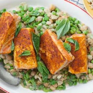 Quick Curried Salmon with Mashed Peas.