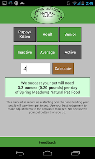 Spring Meadows Feed Calculator- screenshot thumbnail