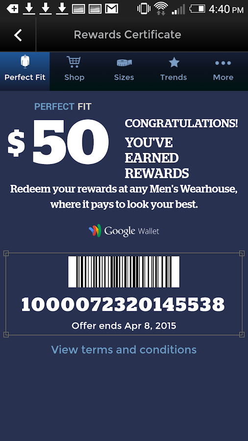 Men's Wearhouse, Perfect Fit Rewards Program! Receive $50 Rewards for Every $ You Spend! Free Shipping Offers Online! Sign Up Today!