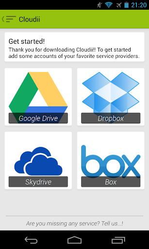 Algunos usuarios empleamos varios servicios de almacenamiento en la nube, como Google Drive, Dropbox, Skydrive, Box, etc. Cada uno de estos servicios tiene su propio cliente, con sus luces y sus sombras. Cloudii para Android viene a echarnos una mano, ya que permite desde una misma aplicación gestionar los servicios enumerados (y alguno más en el futuro). Cloudii para Android, compatible con ICS o superior, ha debutado con una nueva versión (0.32.2) hoy en Google Play. La aplicación dispone de versión gratuita durante 14 días para que podamos probar