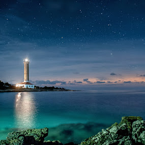 Veli Rat Lighthouse by Zeljko Marcina - Landscapes Starscapes ( veli rat, adriatic, sky, dugi otok, stars, lighthouse, croatia, sea, night, dalmatia, island, , relax, tranquil, relaxing, tranquility )