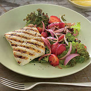Grilled Halibut with Strawberry Salad.
