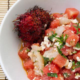 Watermelon, Lychee, Feta, and Basil Salad with Spicy Lemongrass Vinaigrette.