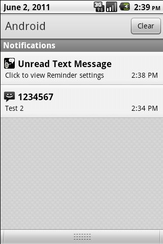 Missed Text Reminder - screenshot