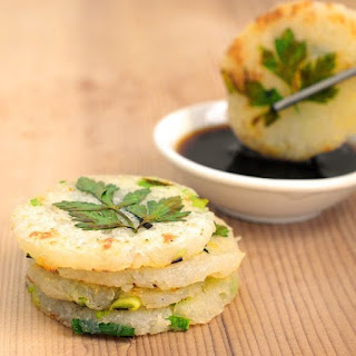 Mini Potato Pancakes with Green Garlic and Chives.