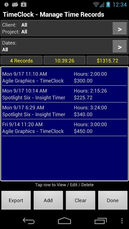 TimeClock - Time Tracker- screenshot