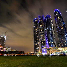 Industry by CJ Cantos - City,  Street & Park  Night ( night photography, color, colors, stars, buildings, abu dhabi, night, night shot )