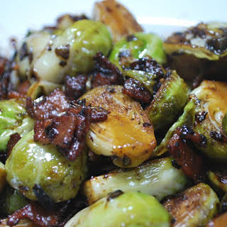 Pan Roasted Brussel Sprouts with Bacon & Shallot.