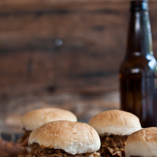Slow Cooker Beer and Brown Sugar Pulled Chicken Sliders.