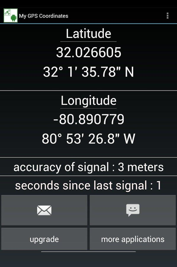 GPS coordinates and location - screenshot