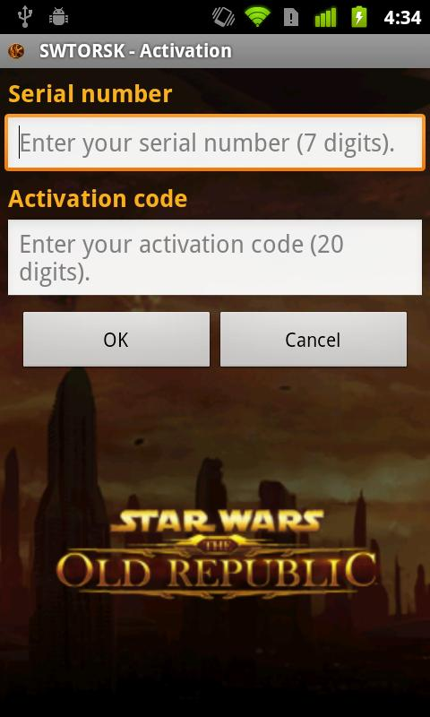 The Old Republic™ Security Key - screenshot