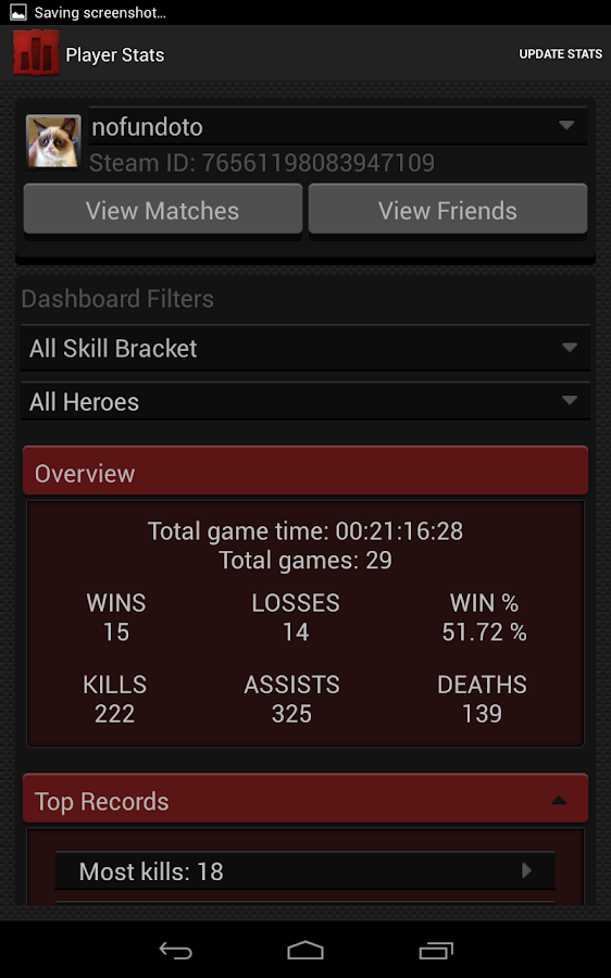 Statistics for Dota 2- screenshot