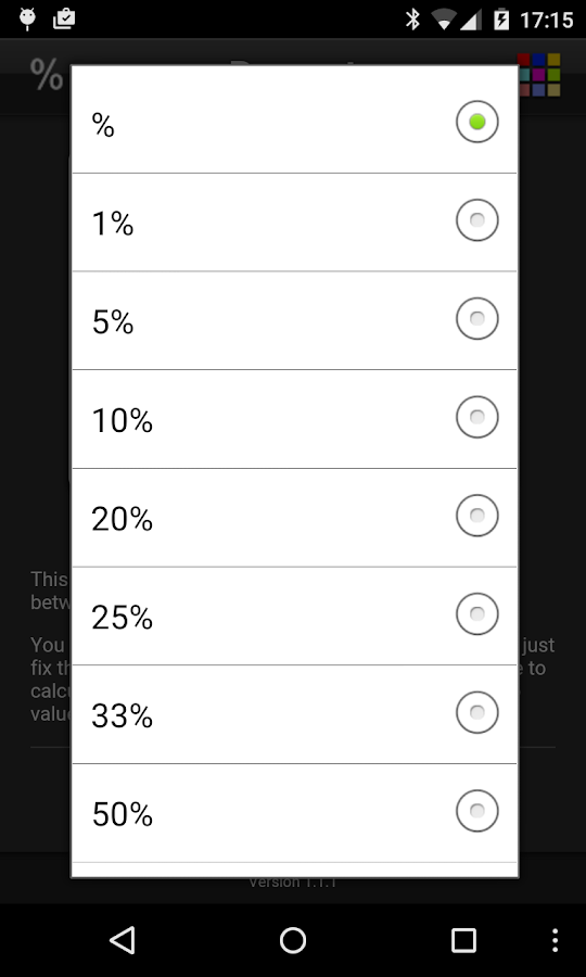 Percentage- screenshot