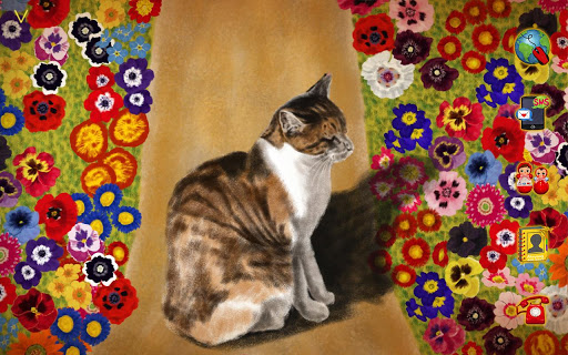 [Full HD] Kitty with Flowers