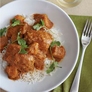 Vindaloo-Spiced Chicken Thighs with Coconut-Tomato Stew.
