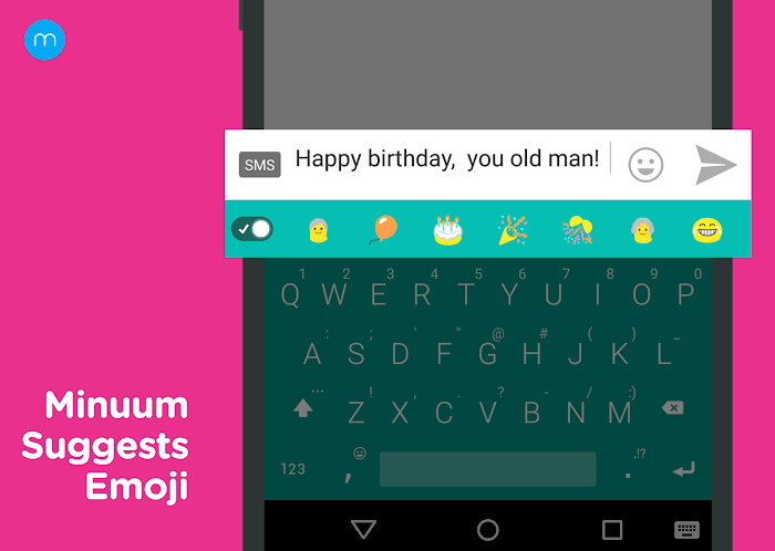 Minuum Keyboard + Smart Emoji- screenshot