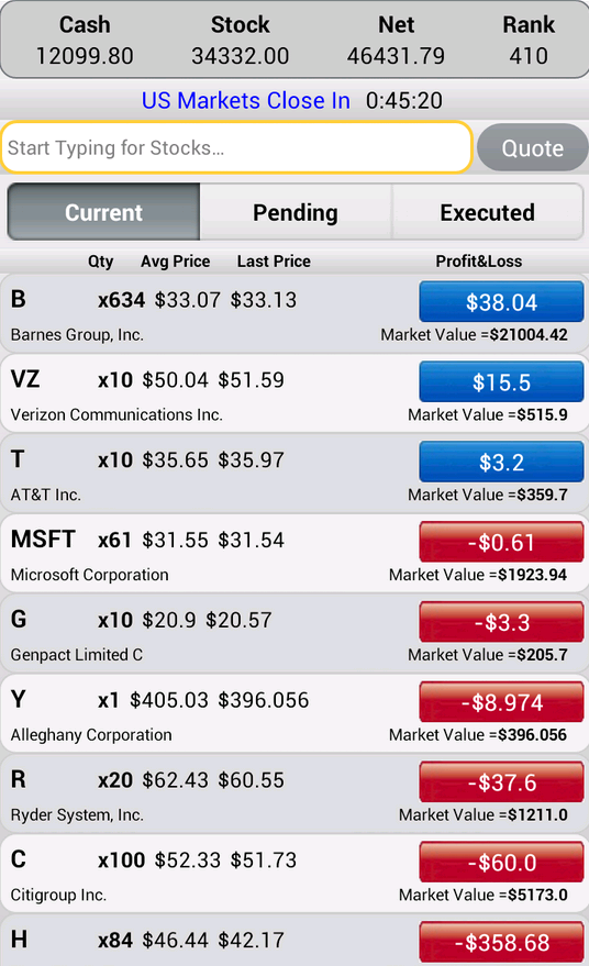 Stock Market Simulator- screenshot