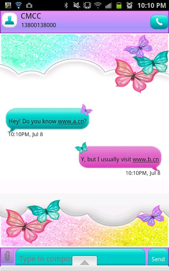 GO SMS THEME|PastelGlitterSky - screenshot