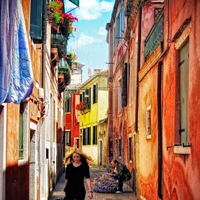 Street of Venice by Andrea Conti - City,  Street & Park  Neighborhoods ( venezia, girl, street, venice, fisherman, italy )