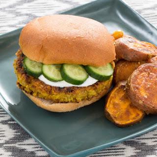Spiced Chickpea Burgers with Vadouvan Sweet Potato Fries & Lemon Yogurt Sauce.