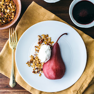 Poached Pears with Pecan Granola and Whipped Cream
