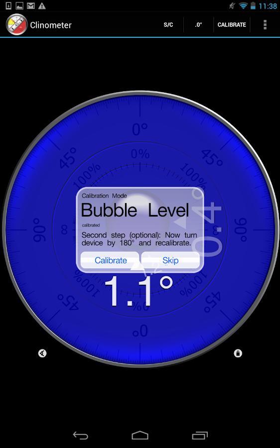 Clinometer + bubble level - screenshot