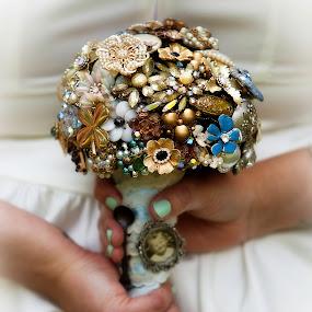 Grandma's Broach Bouquet by Shelley Patterson - Wedding Details ( bouquet, unique, wedding, bride, antique,  )