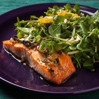 Maple & Ginger Glazed Salmon with Watercress-Parsnip Salad.