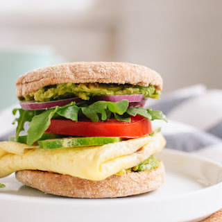 Avocado, Egg and English Muffin Sandwich.
