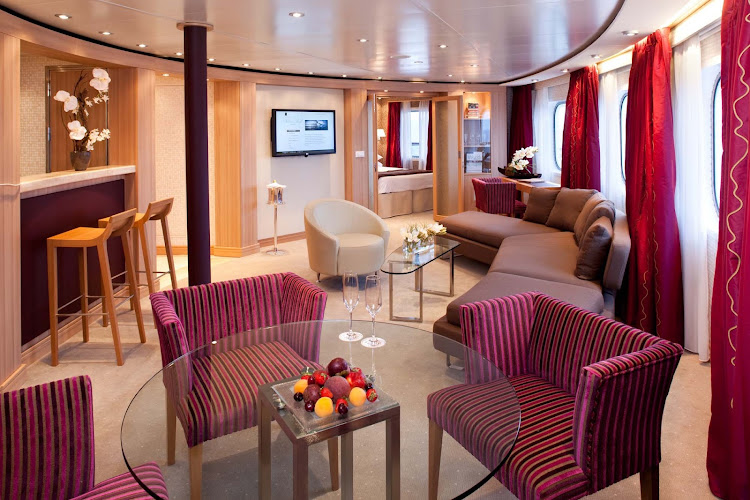 The Owners Suites on board Seabourn Odyssey are spacious, with a separate bedroom, a private and guest bathroom, dining for four, a full wet bar, and a full length window and door that opens onto the private veranda. This suite also offers complimentary wi-fi.