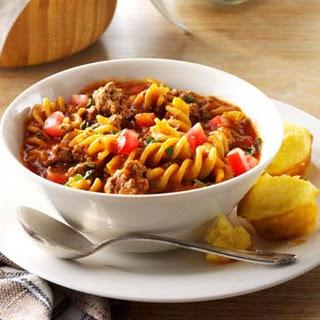 Chili Beef Pasta.