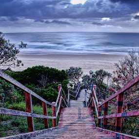 Stairway to Sawtell beach by Michael Lucchese - Landscapes Waterscapes ( water, sawtell, nsw, beach, photography, stairs, australia, sunrise, nikon, landscapes, surf, sydney, golden hour )