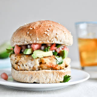 Tilapia Burgers with Watermelon Salsa + Avocado.