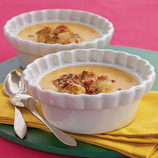 Sweet Potato Soup with Pancetta-Rosemary Croutons